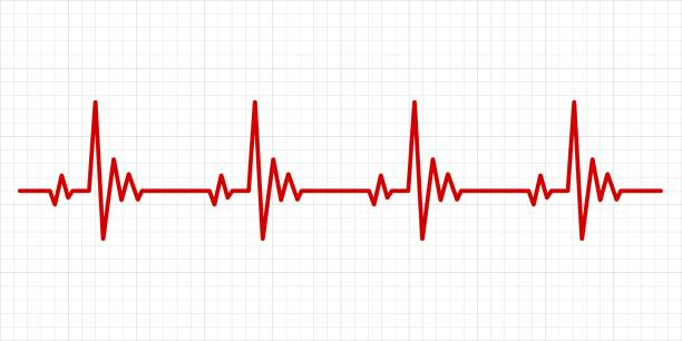 Heartbeat electrocardiogram background Heartbeat electrocardiogram. Hospital test electrocardiograms paper, medical cardio arrhythmia monitor chart, heartbeat line for healthcare diagnosis backgrounds pulse trace stock illustrations