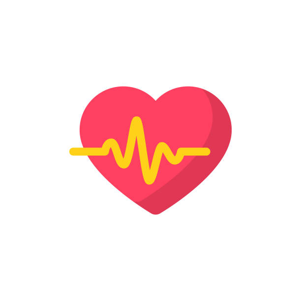 illustrazioni stock, clip art, cartoni animati e icone di tendenza di heartbeat flat icon. pixel perfect. for mobile and web. - elettrocardiogramma