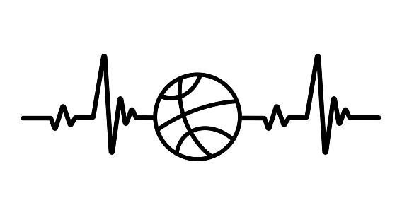 Heartbeat graph. Heart pounding when exercising Healthy sports concept.