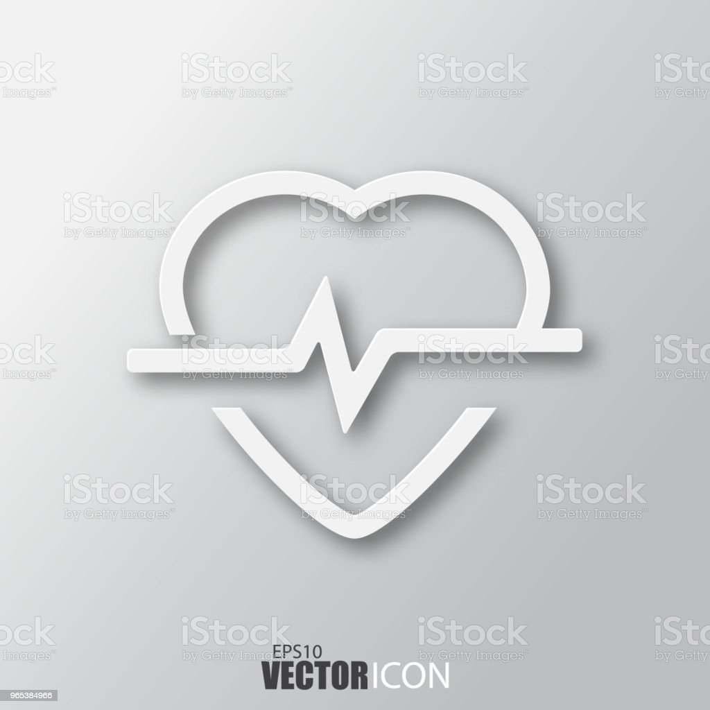 Heartbeat icon in white style with shadow isolated on grey background. royalty-free heartbeat icon in white style with shadow isolated on grey background stock illustration - download image now
