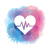 Heartbeat icon on watercolor background