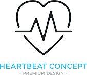 Heartbeat icon. Pulse, heart beat, healthcare, cardiology. Premium design. Vector thin line icon