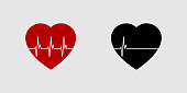 istock Heartbeat life or dead. Red and black heart with palpitation. Red heartbeat, line of life and black heartbeat, line of death. Eps10 1181170980