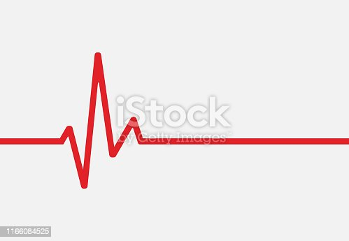 Heartbeat line icon isolated on white background. Vector illustration. Eps 10.