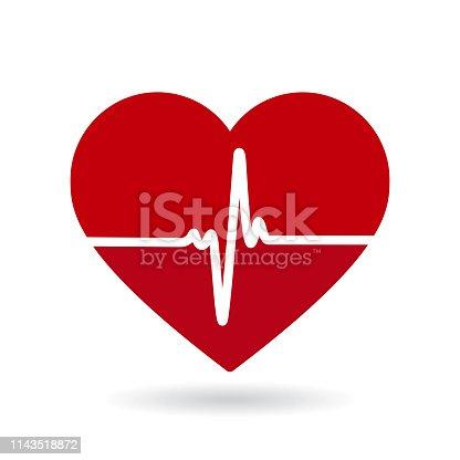 Heartbeat line vector icon. Cardiogram, health logo