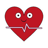 Heartbeat medical symbol cartoon smiling vector illustration graphic design