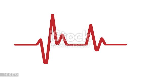 Heartbeat - Vector icon heartbeat line. Heartbeat icon for medical apps. Heart beat in red color. Eps10