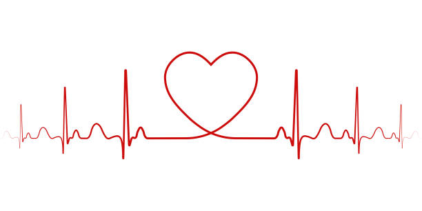 Heartbeat vector rhythm with heart one line, a symbol of positive emotions, love and inspiration, happy Valentine's day Heartbeat, vector rhythm with heart one line, a symbol of positive emotions, love and inspiration, happy Valentine's day taking pulse stock illustrations