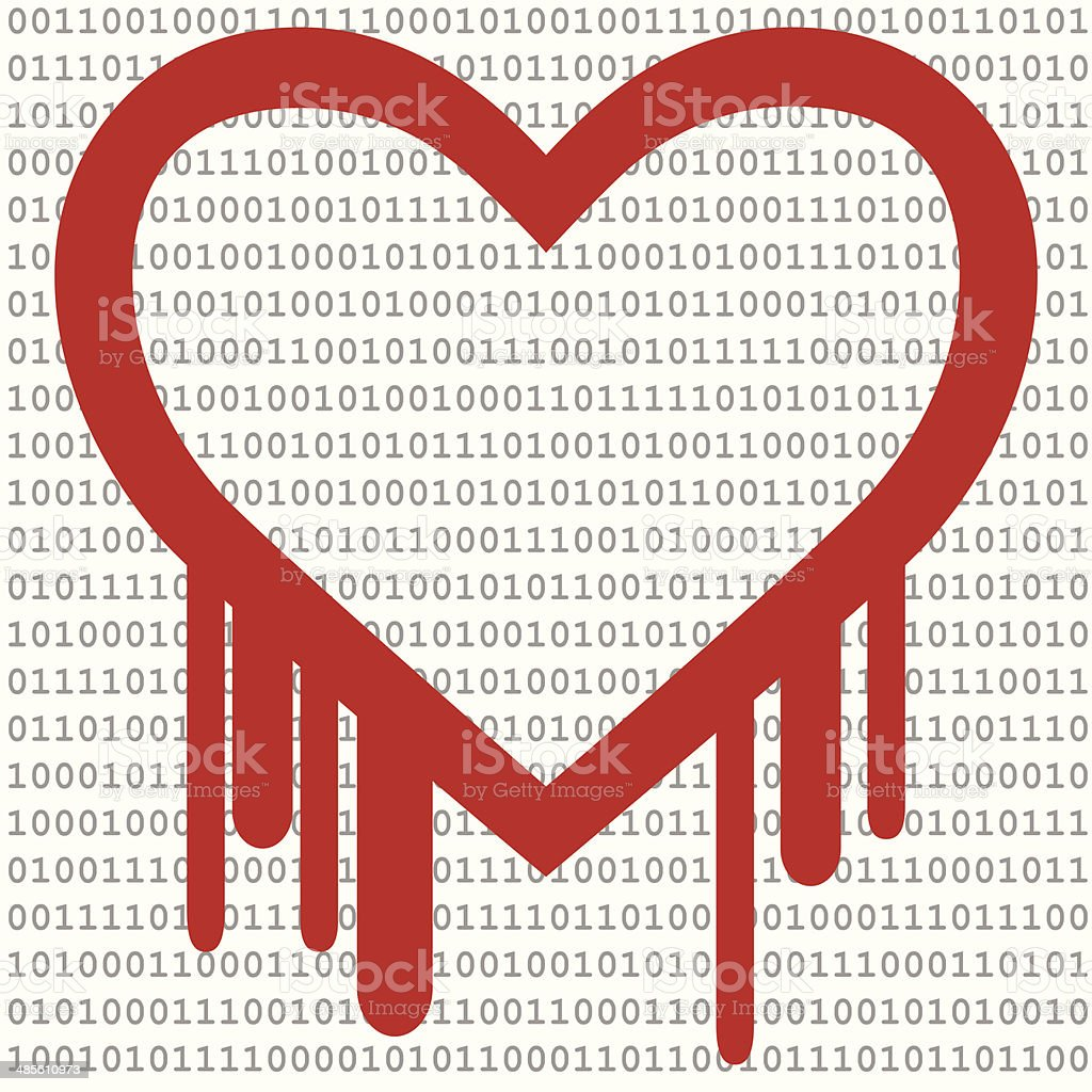 Heartbleed Bug, Heart shape with red bleed & Binary Code royalty-free heartbleed bug heart shape with red bleed binary code stock vector art & more images of binary code