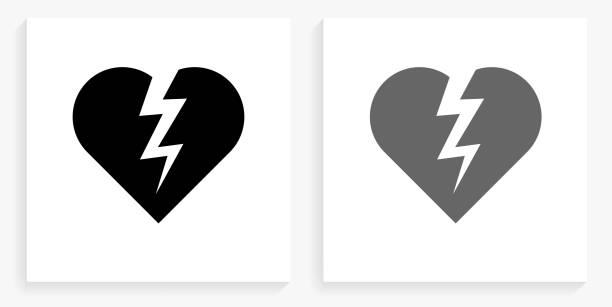 Heartbreak Black and White Square Icon vector art illustration