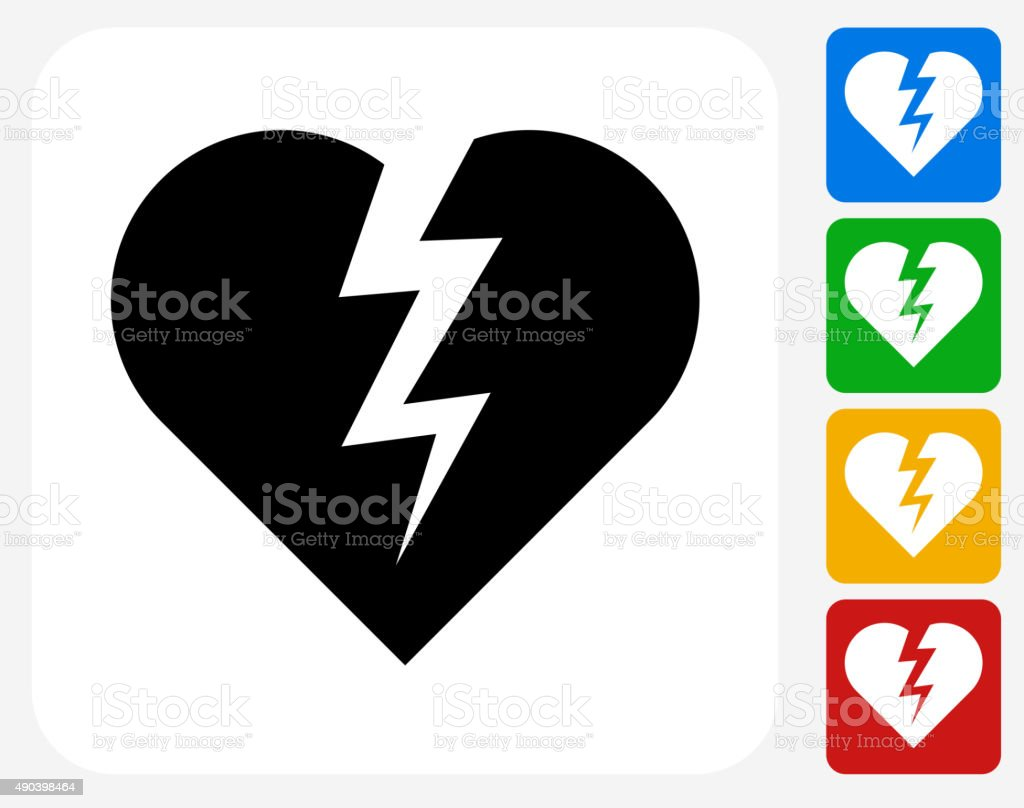 Heartbreak Icon Flat Graphic Design vector art illustration