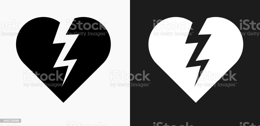 Heartbreak Icon on Black and White Vector Backgrounds vector art illustration