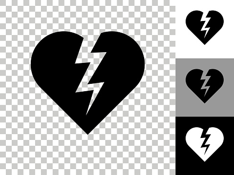 Heartbreak Icon on Checkerboard Transparent Background. This 100% royalty free vector illustration is featuring the icon on a checkerboard pattern transparent background. There are 3 additional color variations on the right..