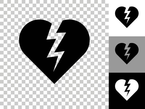 Heartbreak Icon on Checkerboard Transparent Background vector art illustration