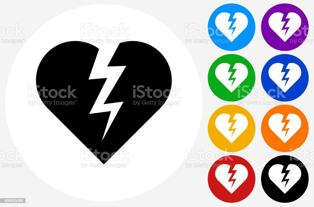 Heartbreak Icon on Flat Color Circle Buttons vector art illustration