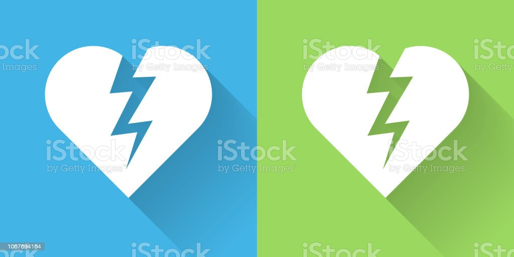Heartbreak Icon with Long Shadow vector art illustration
