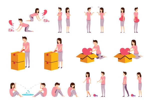 illustrazioni stock, clip art, cartoni animati e icone di tendenza di heartbreaking situation and problem day of couple people. - divorzio