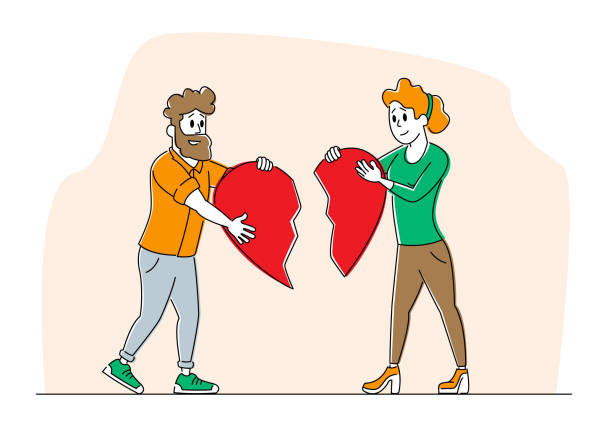 Heartbroken Couple Parting, Divorce. Man and Woman Characters Trying to Put Together Parts of Broken Heart. End of Unhappy Relations and Love, Despair Loneliness. Linear People Vector Illustration Heartbroken Couple Parting, Divorce. Man and Woman Characters Trying to Put Together Parts of Broken Heart. End of Unhappy Relations and Love, Despair Loneliness. Linear People Vector Illustration unhappy couple stock illustrations