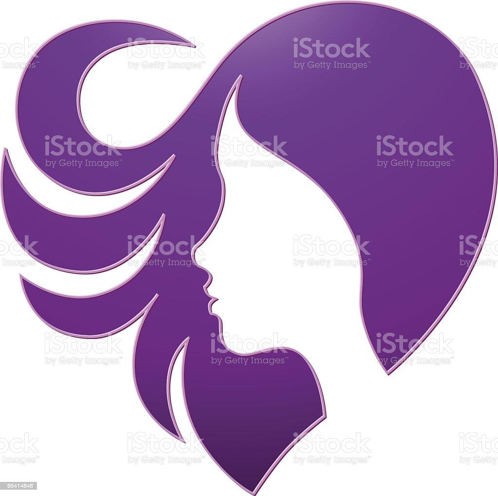 Heart-hair vector art illustration