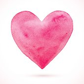 Vector Valentine's day. Watercolor heart background. Lovely card