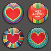 Hearts. 3D Buttons with shadows. Retro style