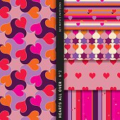 Set with five different, seamless patterns playing with hearts, stripes, swirl and round shapes using the same style and color range to harmonize well. The predominant colors are vivid pink, orange and red combined with dark violet, lavender and beige. The style is contemporary, joyful and romantic. This set can be used for marriages, valentines day and other romantic occasions.