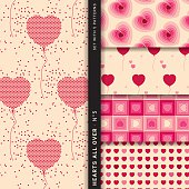 Set with five different, seamless patterns playing with hearts and balloons using the same style and color range to harmonize well. The predominant colors are creme, red and pink. The style is bright, joyful, airy, contemporary and romantic. This set can be used for marriages, valentines day and other romantic occasions.