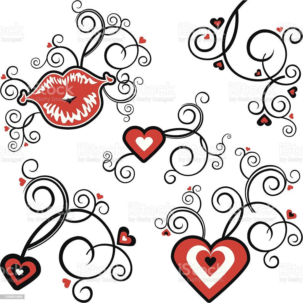 Hearts & Kiss royalty-free stock vector art