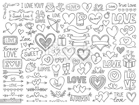 Doodle design elements isolated on white background.