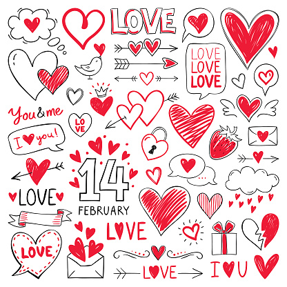 Hearts and design elements for Valentine's Day