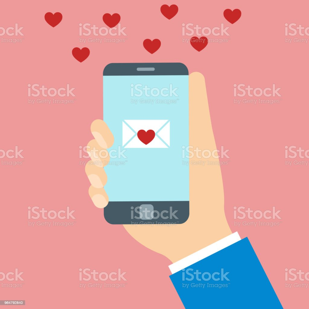 Hearts and love message on mobile phone screen royalty-free hearts and love message on mobile phone screen stock vector art & more images of communication