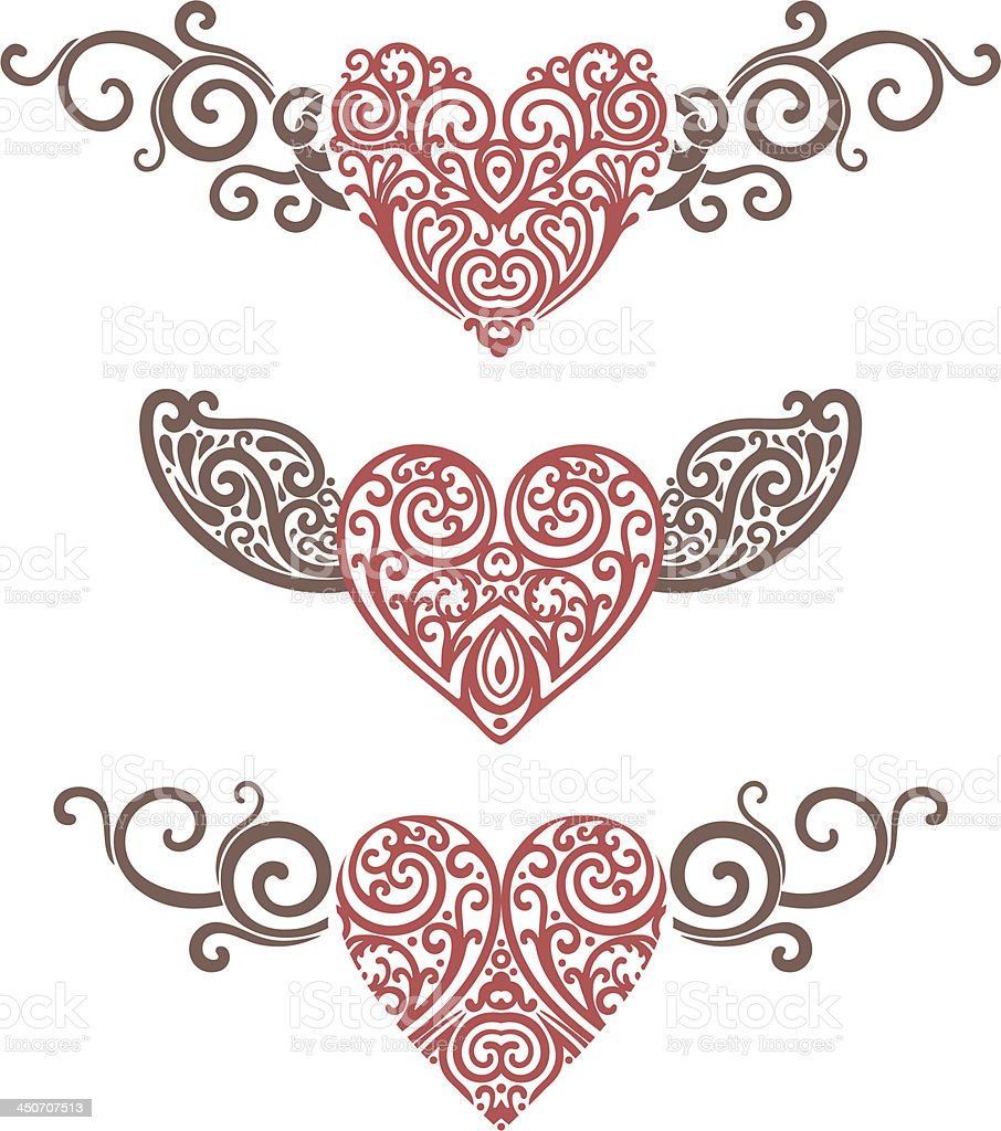 hearts and wings vector art illustration