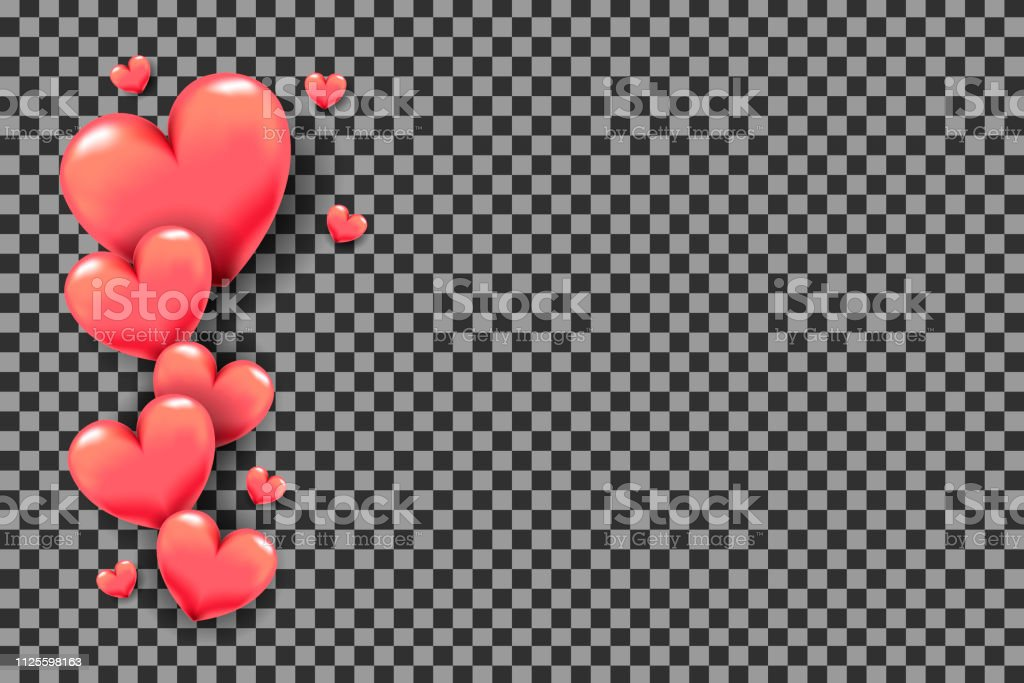 3d Hearts As Frame On Transparent Background For ...