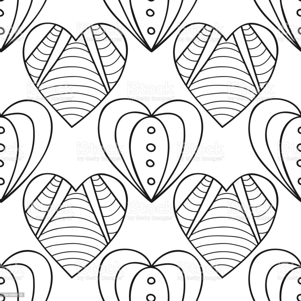 Hearts Black And White Decorative Seamless Pattern For Coloring Book ...