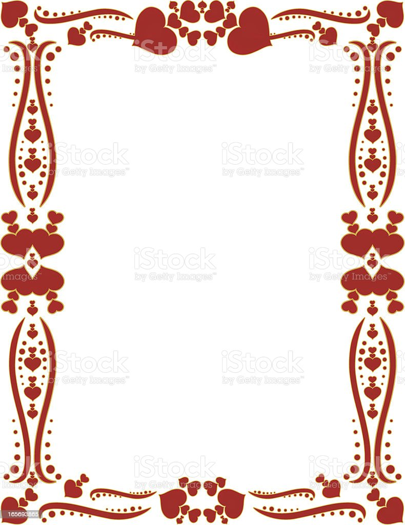 hearts border background design red gold accents stock