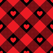 Hearts buffalo check plaid pattern. Seamless tile. Pixel texture. Valentine's Day gingham / vichy pattern design for backgrounds, textile, wrapping, packaging, digital paper, scrapbooking, crafts. Vector illustration.