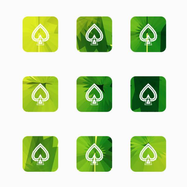 auflistung der herzen-schaltflächen - palmenherzen stock-grafiken, -clipart, -cartoons und -symbole