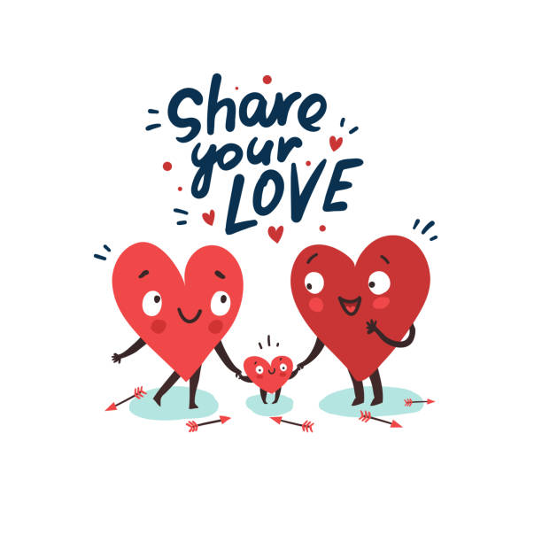 hearts characters as symbols of love and family - happy family stock illustrations