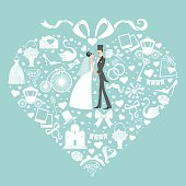 Vector Design for wedding invitation .Set of  wedding items .Composition in the shape of a heart with retro bride and groomand  bow on top.