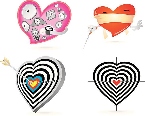 Royalty free arrow on target heart bullseye vector illustration clip hearts concept vector art illustration altavistaventures Image collections