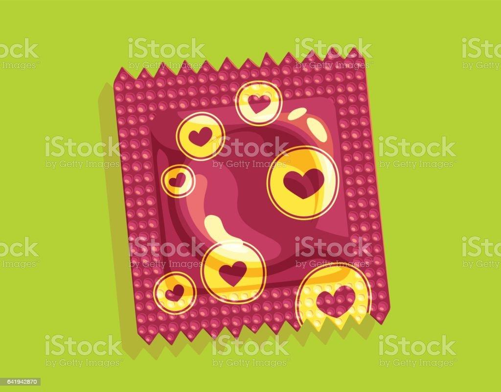 Hearts condom package vector art illustration