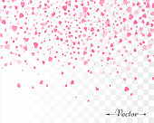 Hearts confetti isolated. Valentines vector template