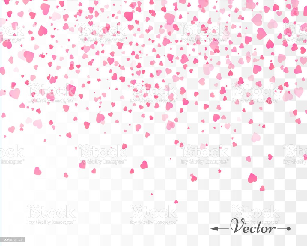 Hearts confetti isolated. Valentines vector template vector art illustration