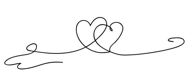 Herzen. Kontinuierliche Linie KunstZeichnung. Freundschaftskonzept. Bester Freund für immer. Schwarzweiß-Vektor-Illustration – Vektorgrafik
