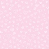 Hearts doodles seamless pattern in pink. Vector illustration.