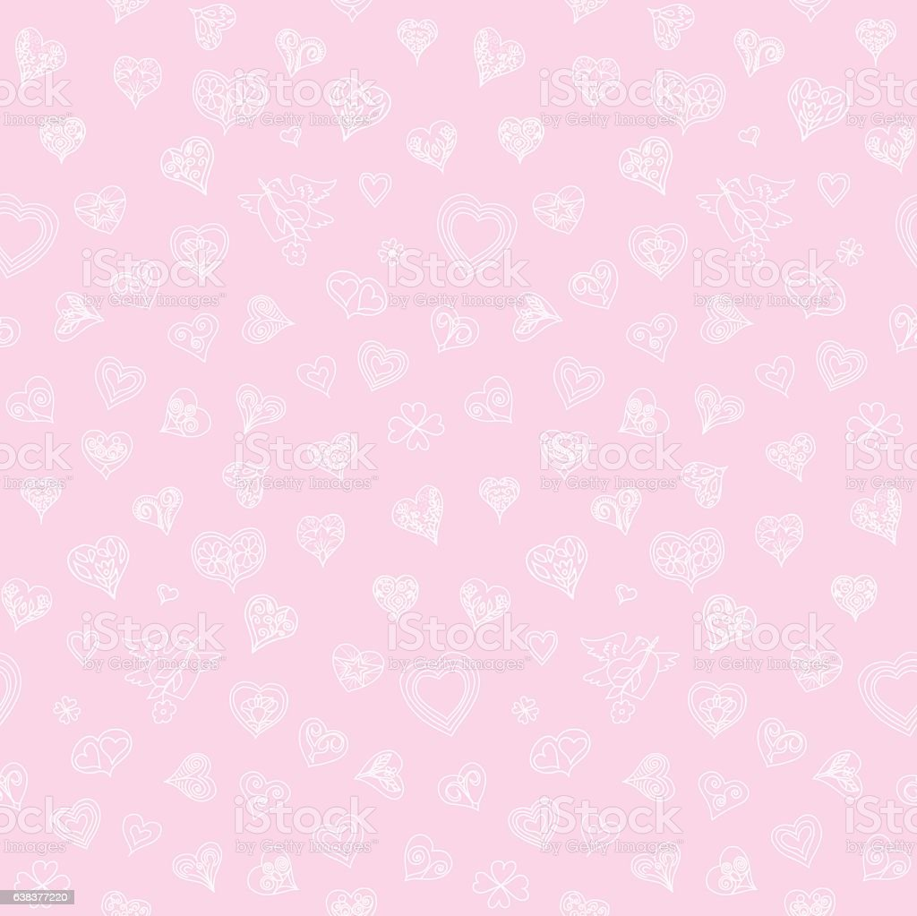 Hearts Doodles Seamless Pattern vector art illustration