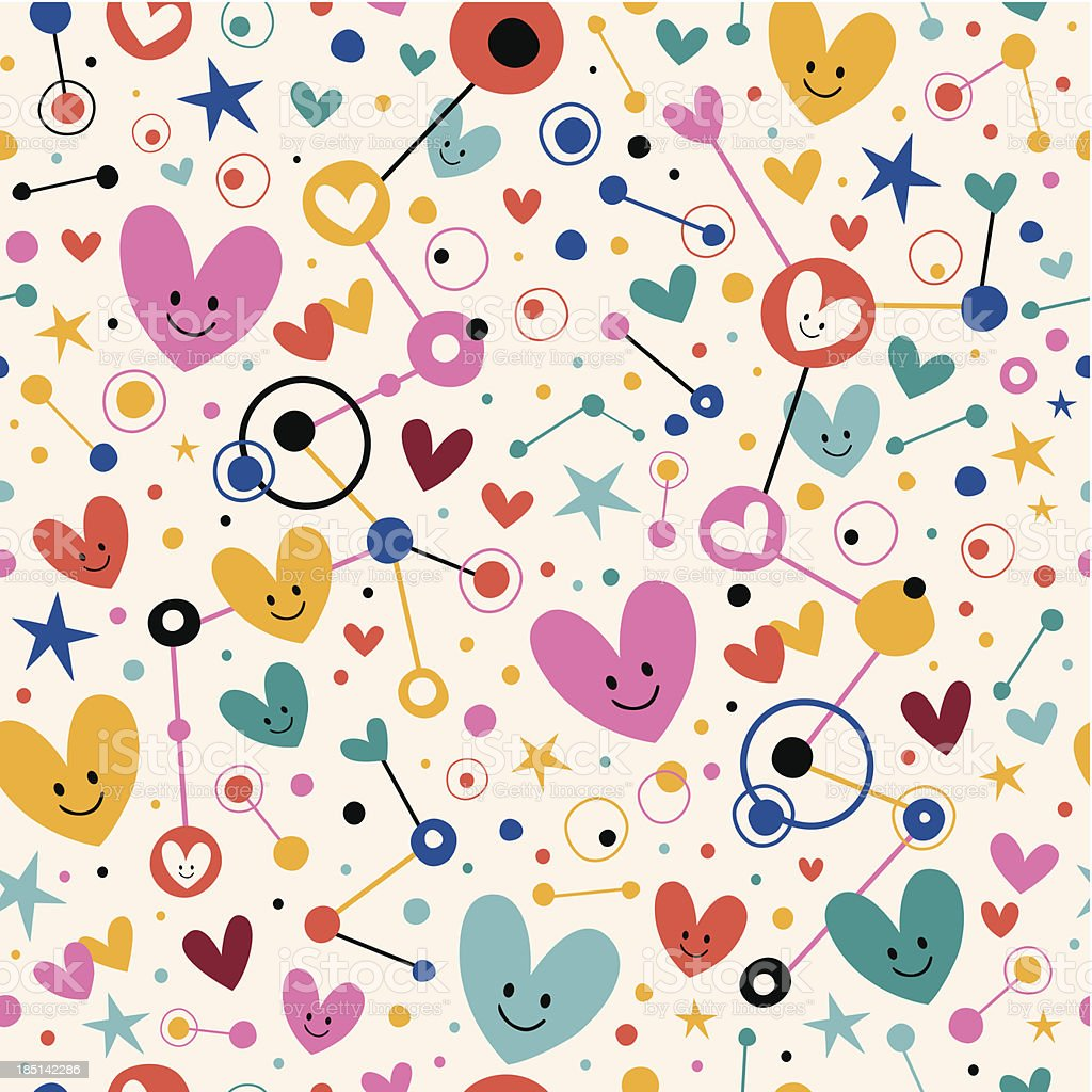 hearts dots and stars funky cartoon pattern stock vector art & more