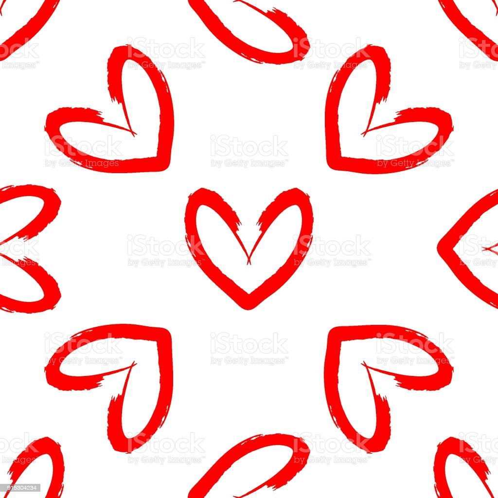 Hearts Drawn By Hand With Rough Brush Romantic Seamless Pattern