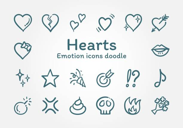 hearts emotion vector icons doodle - kiss stock illustrations