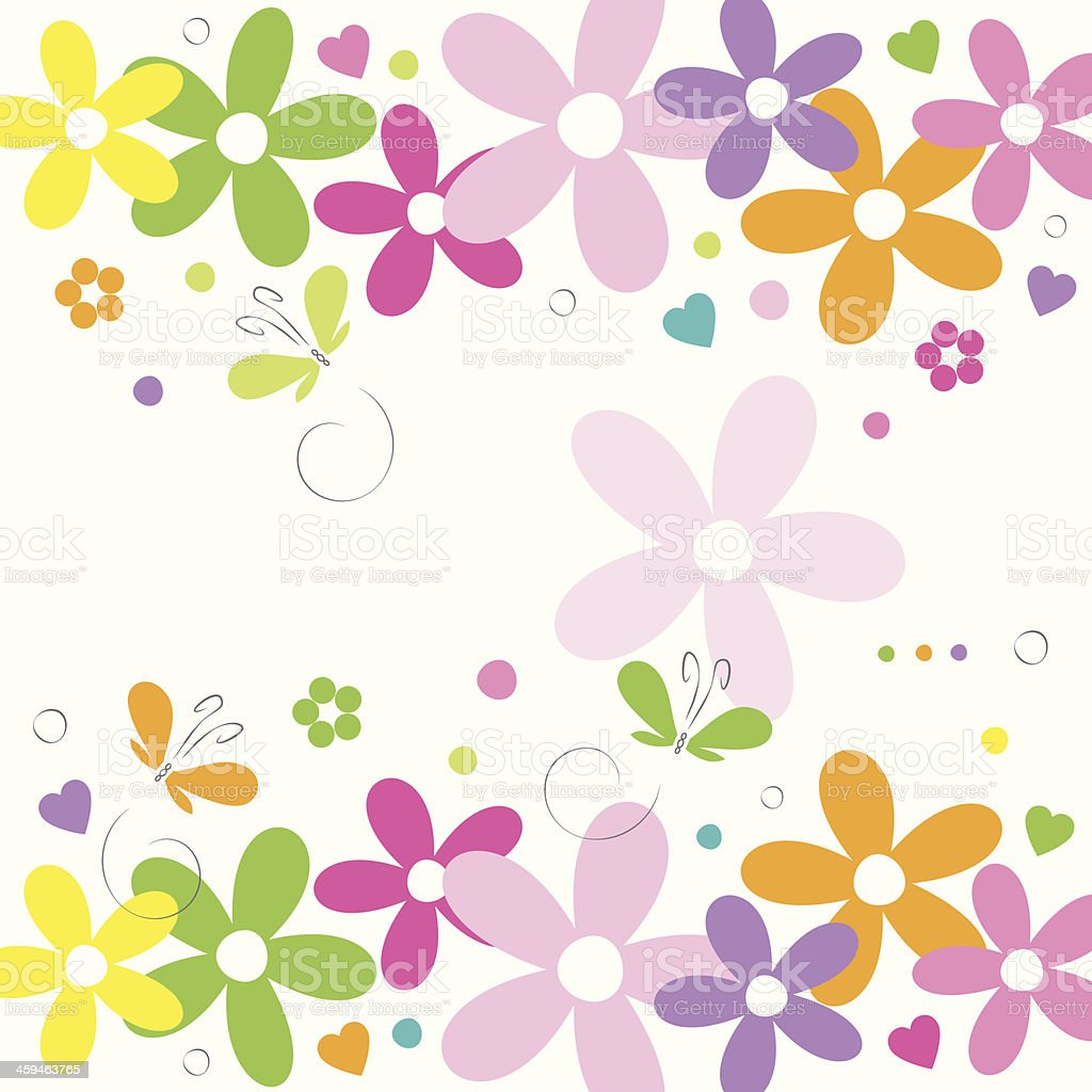 hearts flowers and butterflies happy birthday card vector art illustration